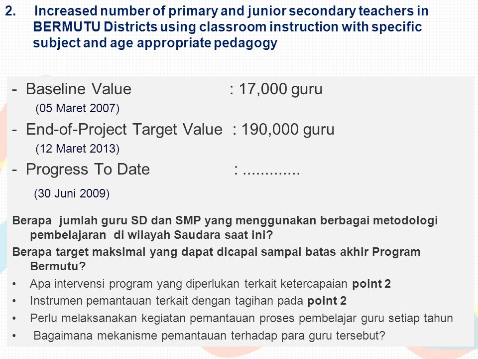 - End-of-Project Target Value : 190,000 guru