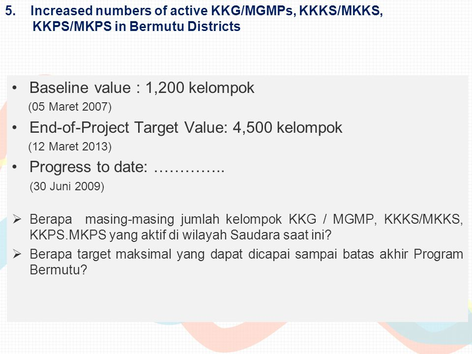 Baseline value : 1,200 kelompok