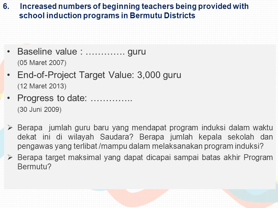 Baseline value : …………. guru End-of-Project Target Value: 3,000 guru