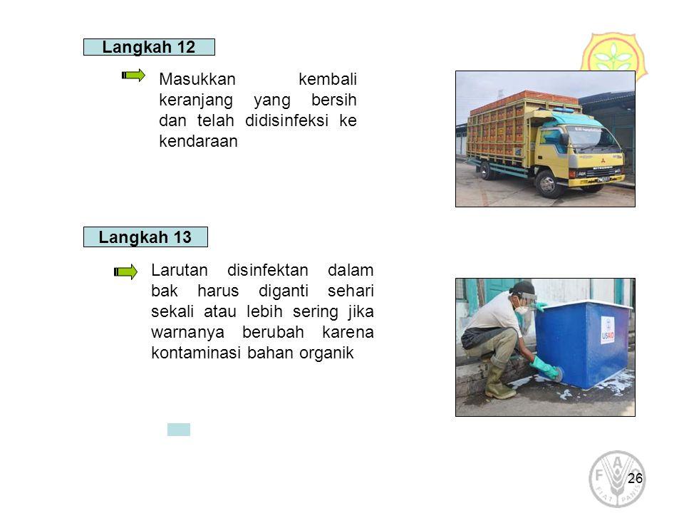 Langkah 12 Masukkan kembali keranjang yang bersih dan telah didisinfeksi ke kendaraan. Langkah 13.