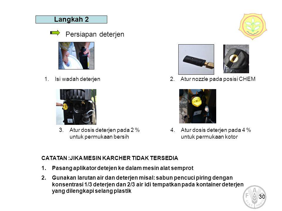 Langkah 2 Persiapan deterjen Isi wadah deterjen