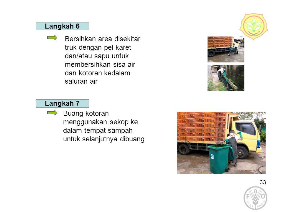 Langkah 6 Bersihkan area disekitar truk dengan pel karet dan/atau sapu untuk membersihkan sisa air dan kotoran kedalam saluran air.