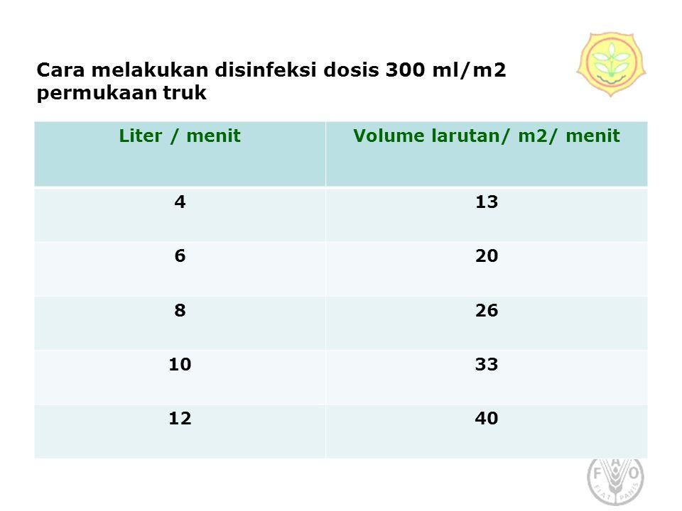 Cara melakukan disinfeksi dosis 300 ml/m2 permukaan truk