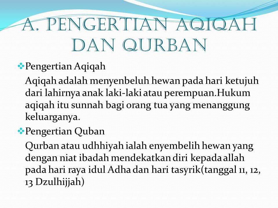 A. PENGERTIAN AQIQAH DAN QURBAN