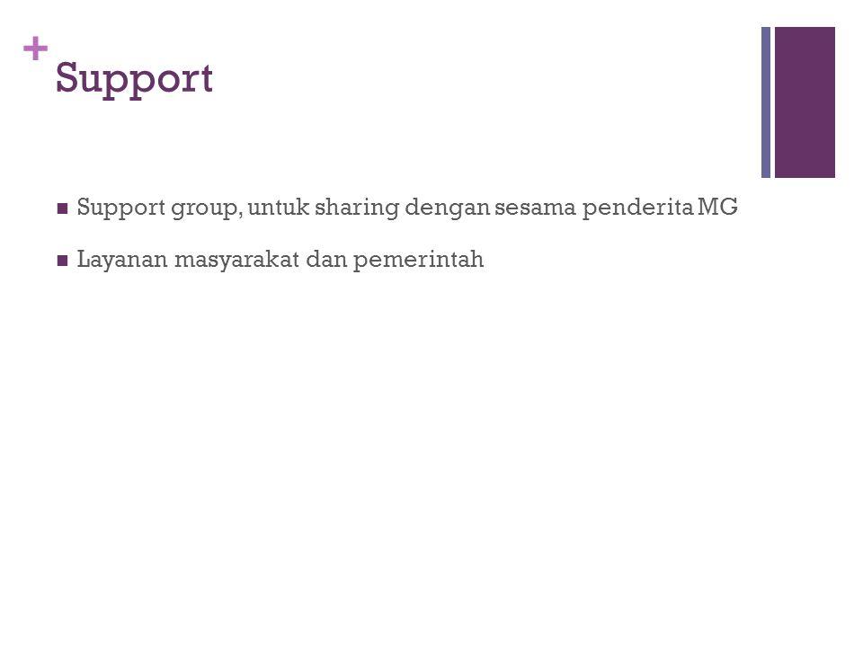 Support Support group, untuk sharing dengan sesama penderita MG