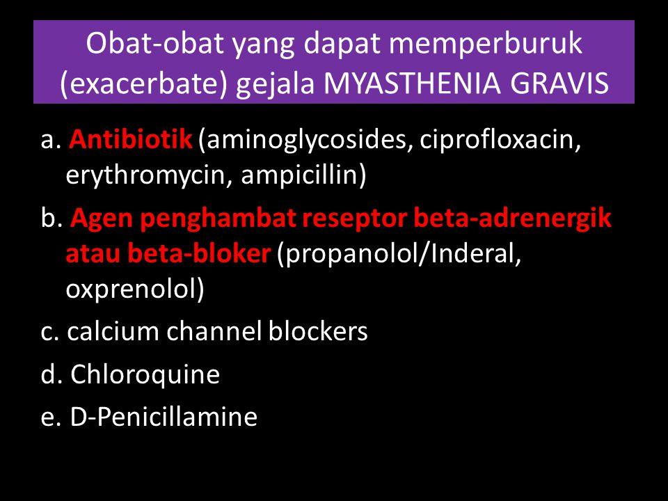 Obat-obat yang dapat memperburuk (exacerbate) gejala MYASTHENIA GRAVIS