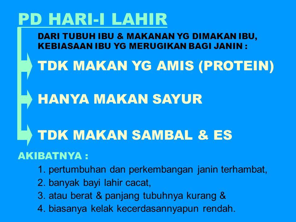 PD HARI-I LAHIR TDK MAKAN YG AMIS (PROTEIN) HANYA MAKAN SAYUR