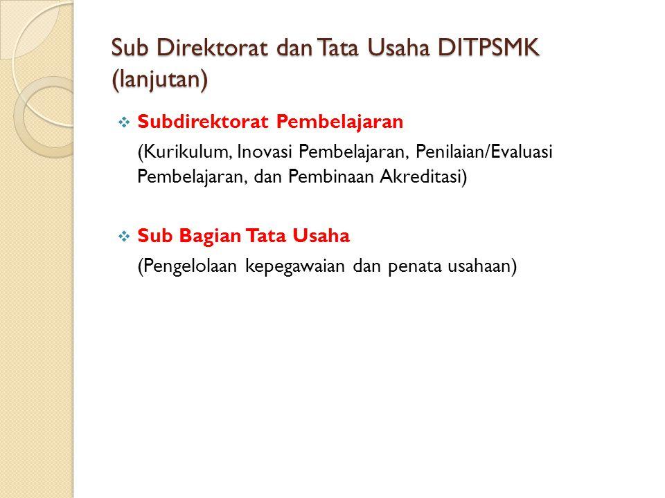 Sub Direktorat dan Tata Usaha DITPSMK (lanjutan)