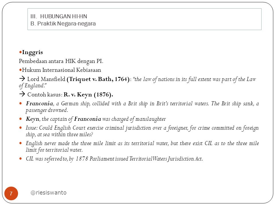 III. HUBUNGAN HI-HN B. Praktik Negara-negara