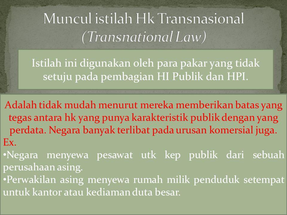 Muncul istilah Hk Transnasional (Transnational Law)