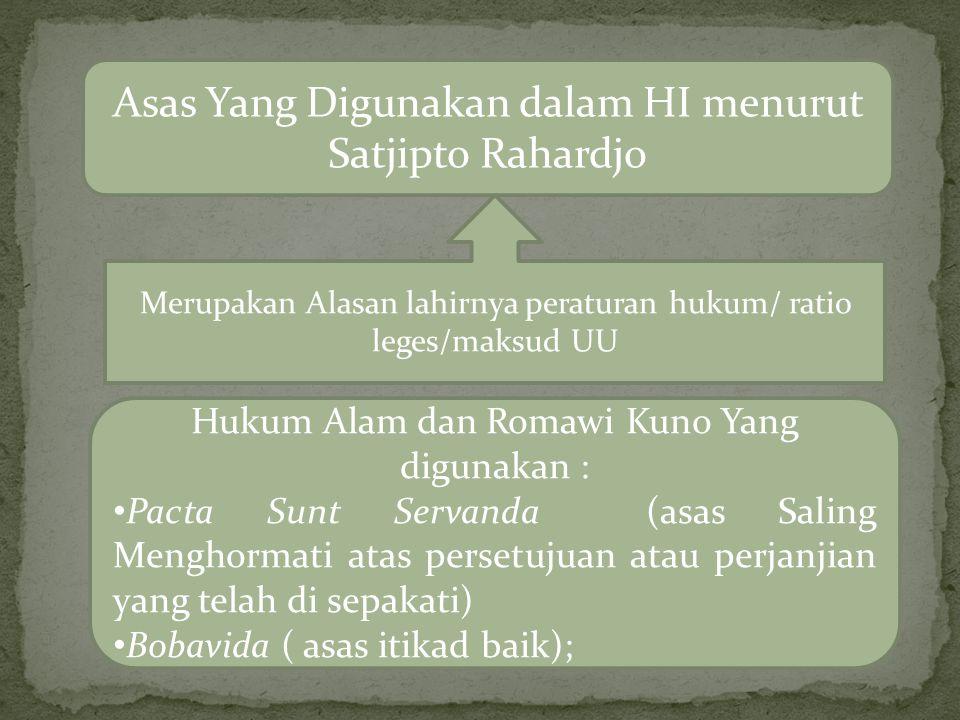 Asas Yang Digunakan dalam HI menurut Satjipto Rahardjo