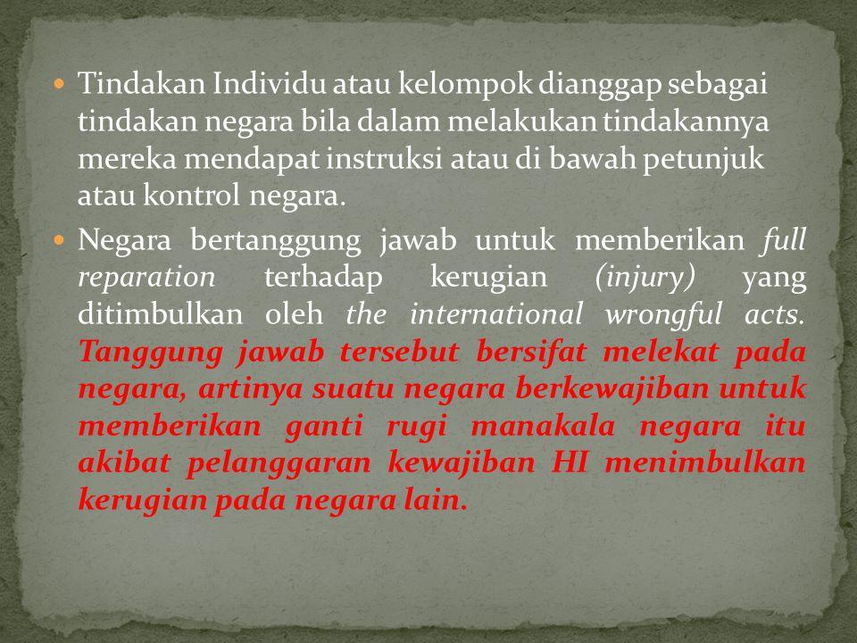 Tindakan Individu atau kelompok dianggap sebagai tindakan negara bila dalam melakukan tindakannya mereka mendapat instruksi atau di bawah petunjuk atau kontrol negara.