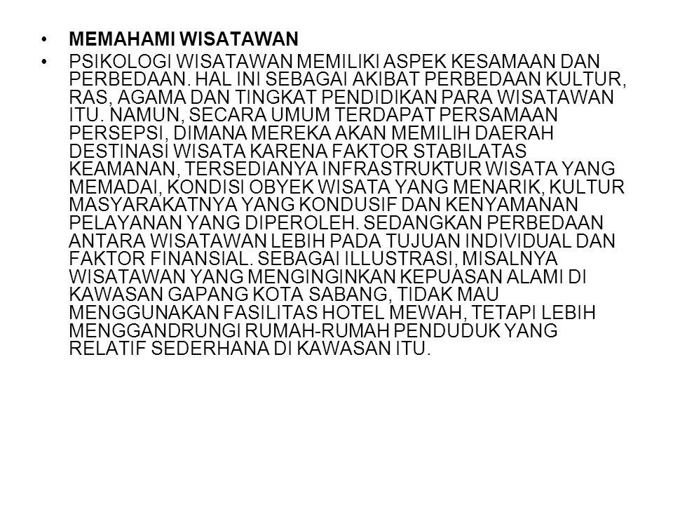 MEMAHAMI WISATAWAN