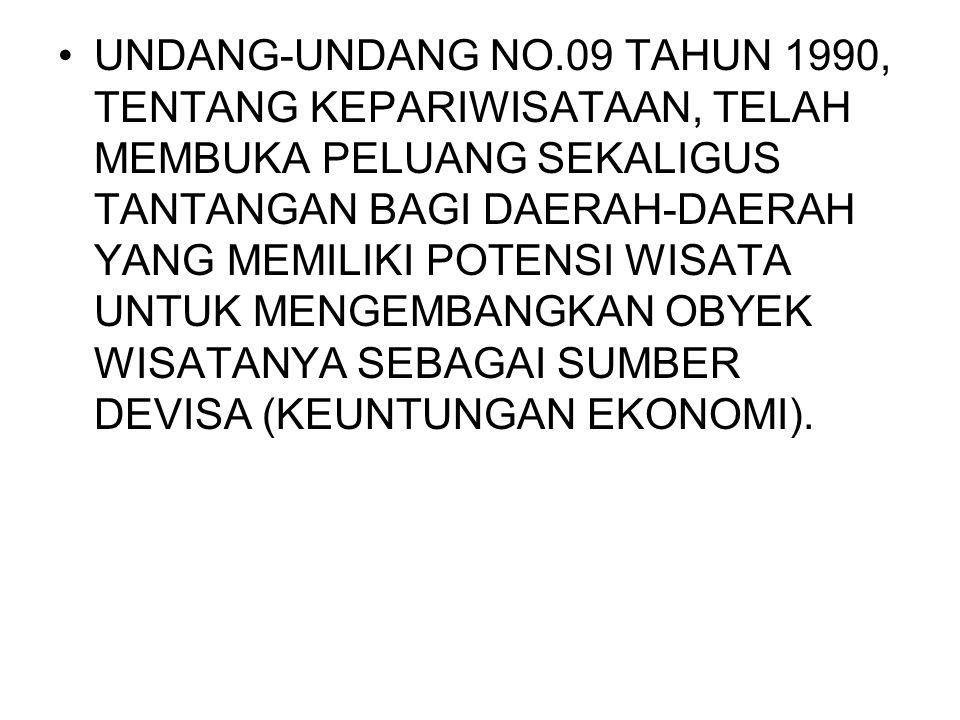 UNDANG-UNDANG NO.09 TAHUN 1990, TENTANG KEPARIWISATAAN, TELAH MEMBUKA PELUANG SEKALIGUS TANTANGAN BAGI DAERAH-DAERAH YANG MEMILIKI POTENSI WISATA UNTUK MENGEMBANGKAN OBYEK WISATANYA SEBAGAI SUMBER DEVISA (KEUNTUNGAN EKONOMI).