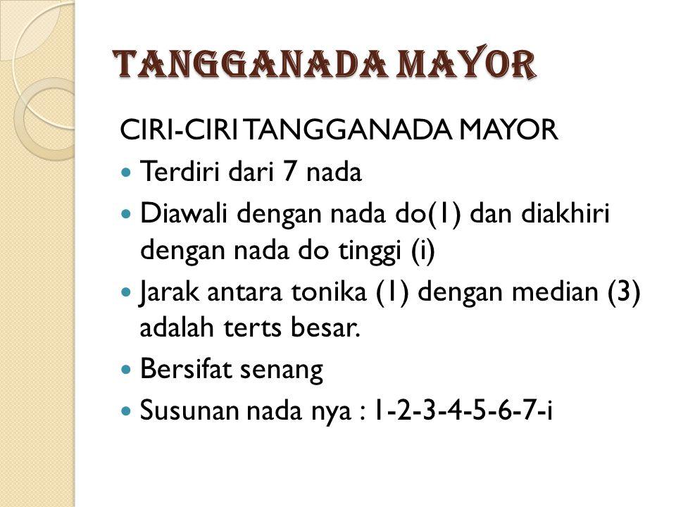 TANGGANADA MAYOR CIRI-CIRI TANGGANADA MAYOR Terdiri dari 7 nada