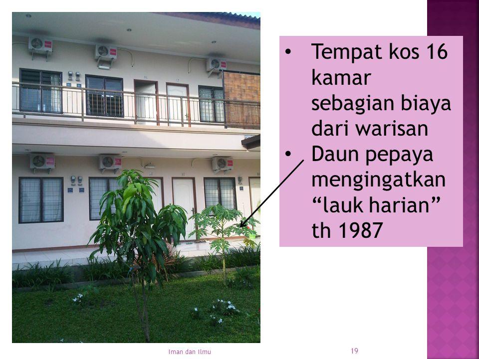 Tempat kos 16 kamar sebagian biaya dari warisan