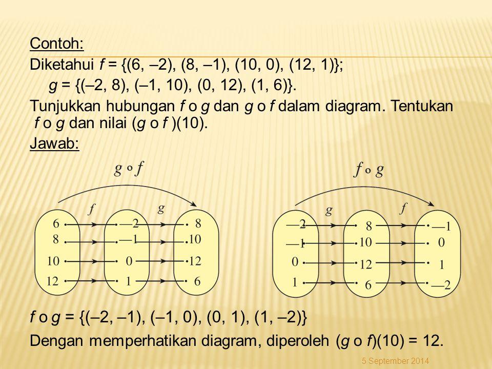 f o g = {(–2, –1), (–1, 0), (0, 1), (1, –2)} Contoh: