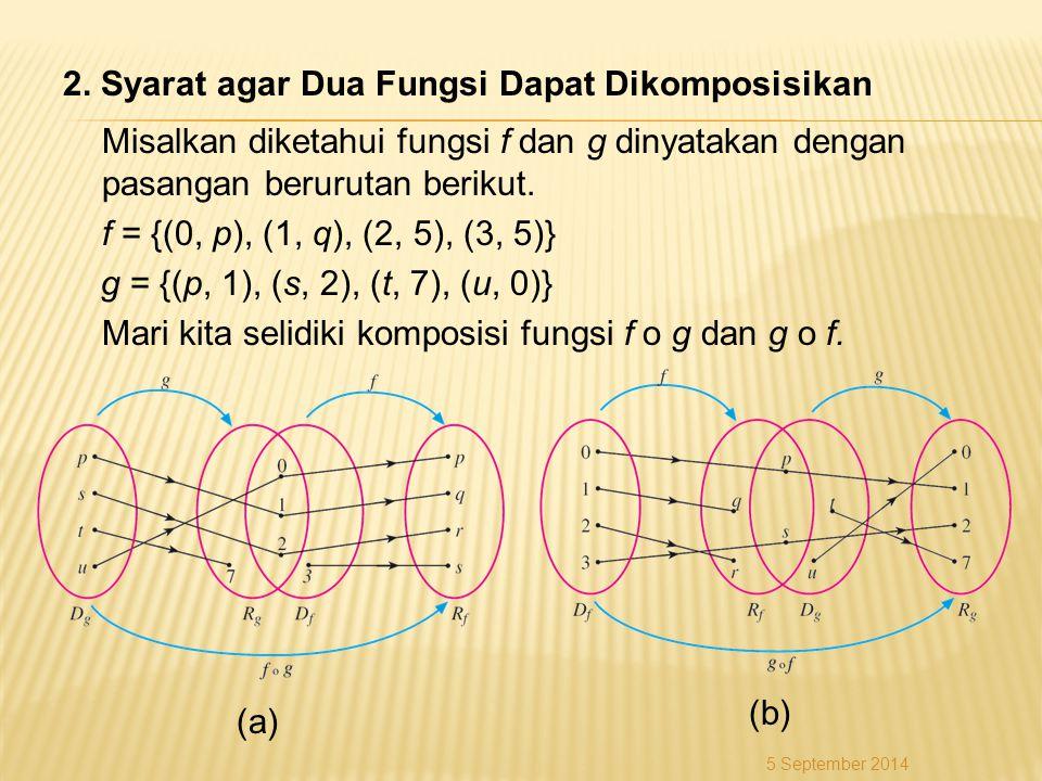 2. Syarat agar Dua Fungsi Dapat Dikomposisikan Misalkan diketahui fungsi f dan g dinyatakan dengan pasangan berurutan berikut. f = {(0, p), (1, q), (2, 5), (3, 5)} g = {(p, 1), (s, 2), (t, 7), (u, 0)} Mari kita selidiki komposisi fungsi f o g dan g o f.