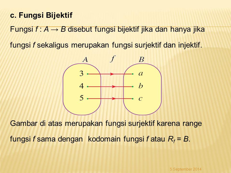 c. Fungsi Bijektif Fungsi f : A → B disebut fungsi bijektif jika dan hanya jika fungsi f sekaligus merupakan fungsi surjektif dan injektif. Gambar di atas merupakan fungsi surjektif karena range fungsi f sama dengan kodomain fungsi f atau Rf = B.