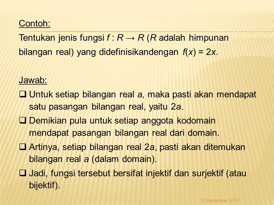 Tentukan jenis fungsi f : R → R (R adalah himpunan