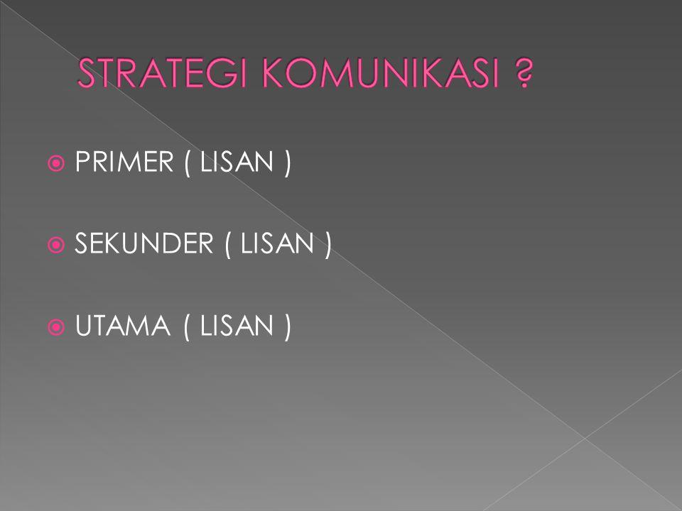 STRATEGI KOMUNIKASI PRIMER ( LISAN ) SEKUNDER ( LISAN )