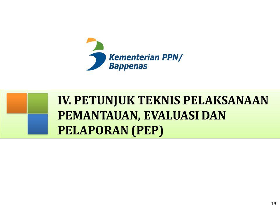 IV. Petunjuk Teknis Pelaksanaan Pemantauan, Evaluasi dan Pelaporan (PEP)