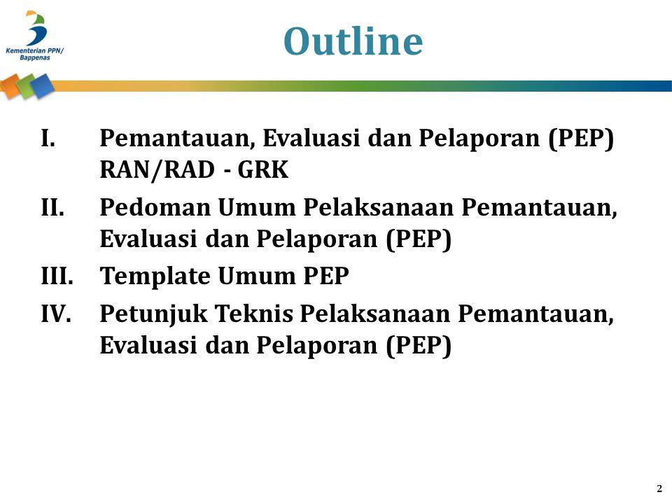Outline Pemantauan, Evaluasi dan Pelaporan (PEP) RAN/RAD - GRK