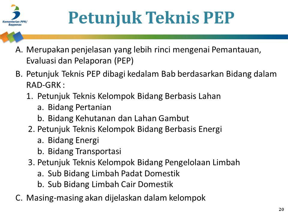 Petunjuk Teknis PEP Merupakan penjelasan yang lebih rinci mengenai Pemantauan, Evaluasi dan Pelaporan (PEP)