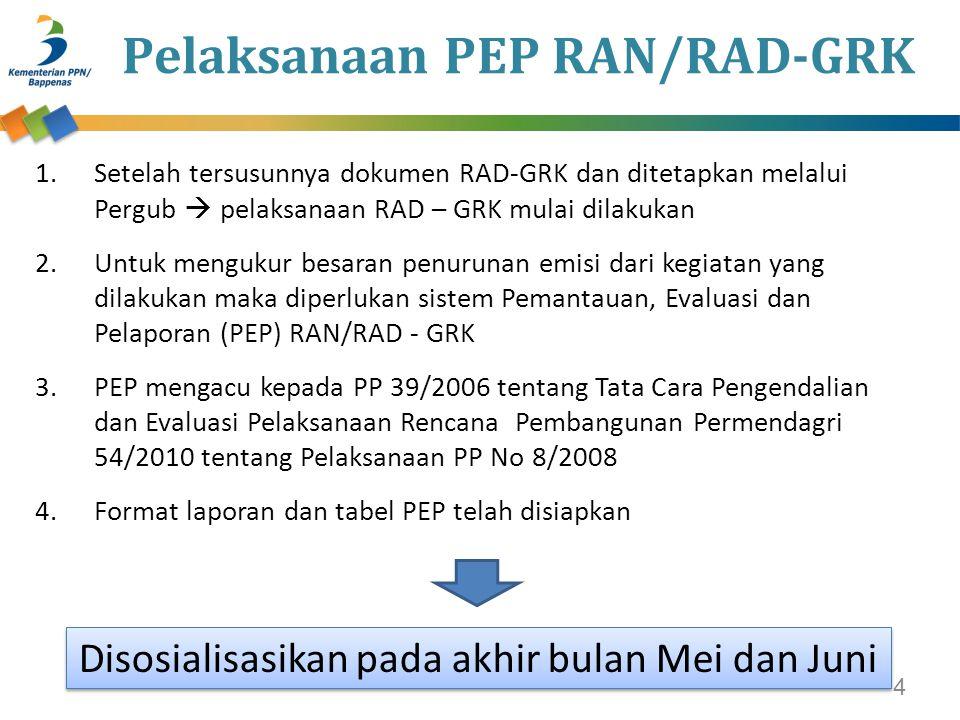 Pelaksanaan PEP RAN/RAD-GRK