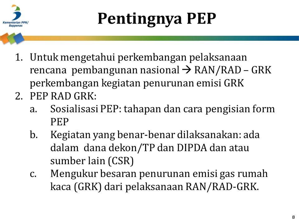 Pentingnya PEP Untuk mengetahui perkembangan pelaksanaan rencana pembangunan nasional  RAN/RAD – GRK perkembangan kegiatan penurunan emisi GRK.
