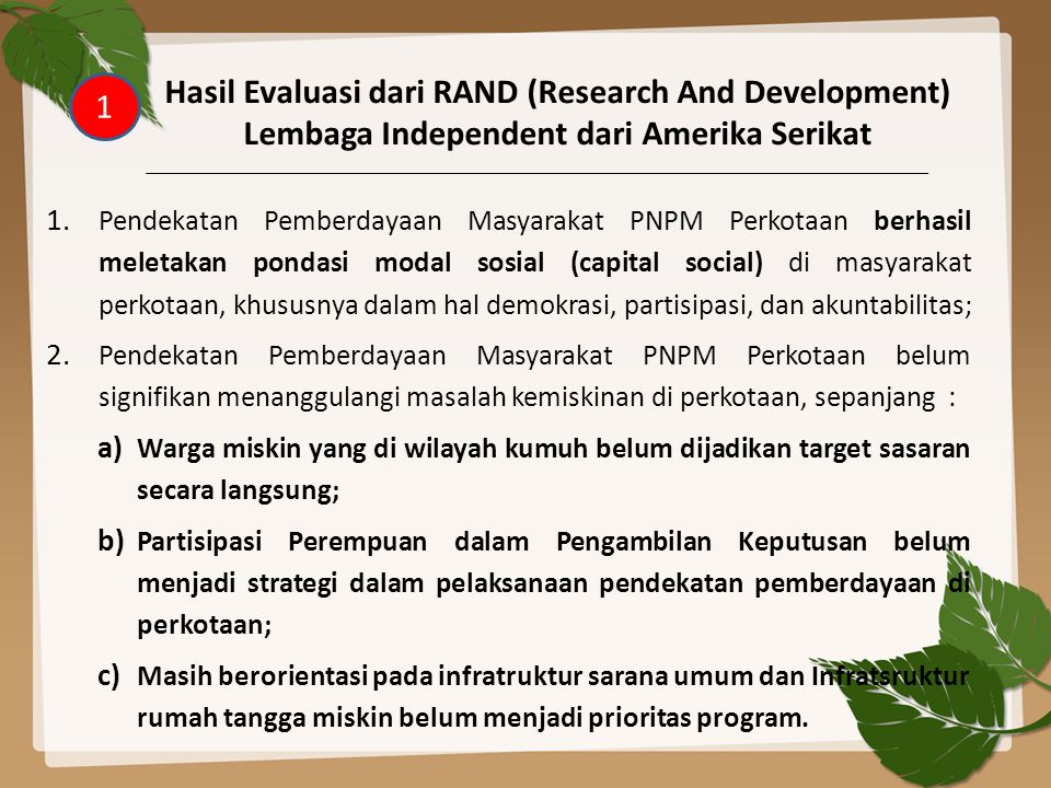 Hasil Evaluasi dari RAND (Research And Development)