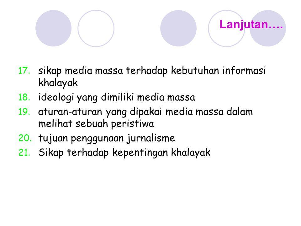 Lanjutan…. sikap media massa terhadap kebutuhan informasi khalayak