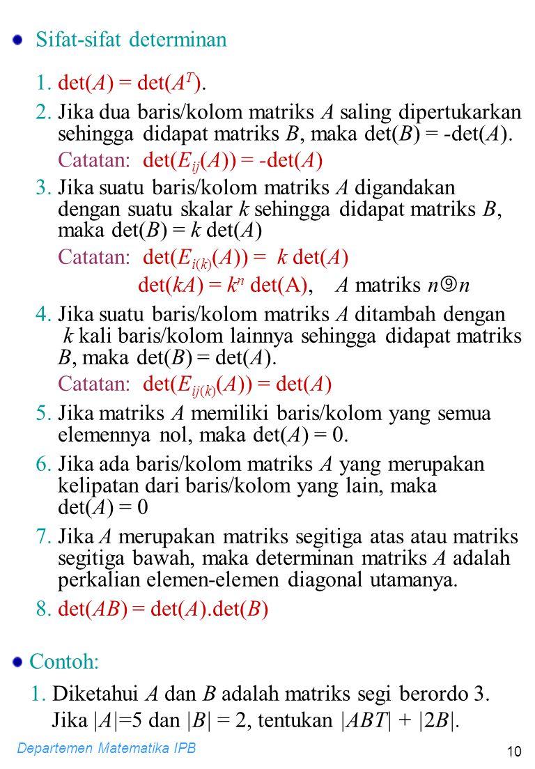 Sifat-sifat determinan