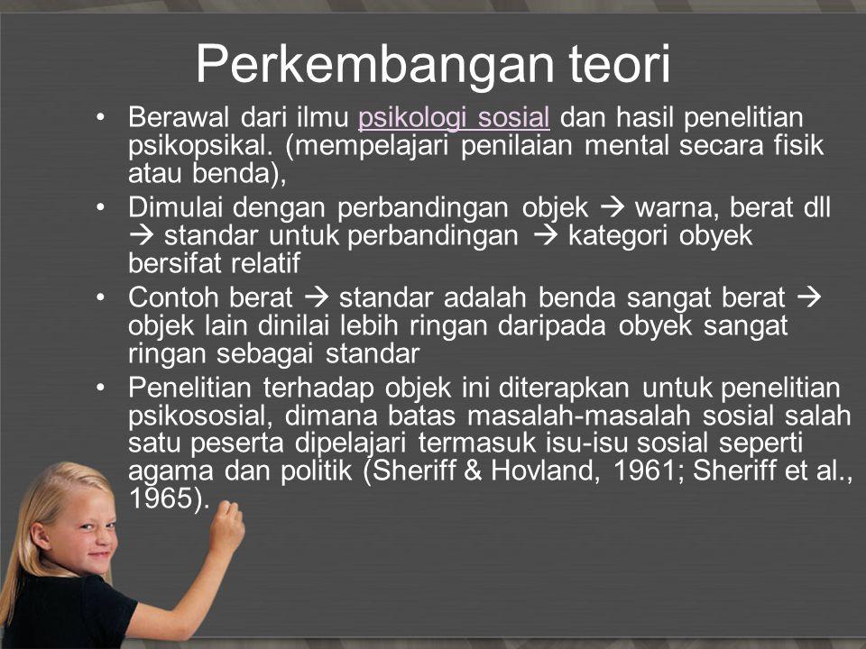 Perkembangan teori Berawal dari ilmu psikologi sosial dan hasil penelitian psikopsikal. (mempelajari penilaian mental secara fisik atau benda),