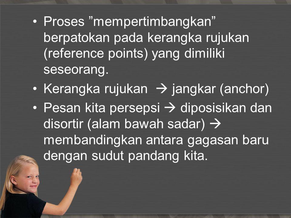 Proses mempertimbangkan berpatokan pada kerangka rujukan (reference points) yang dimiliki seseorang.