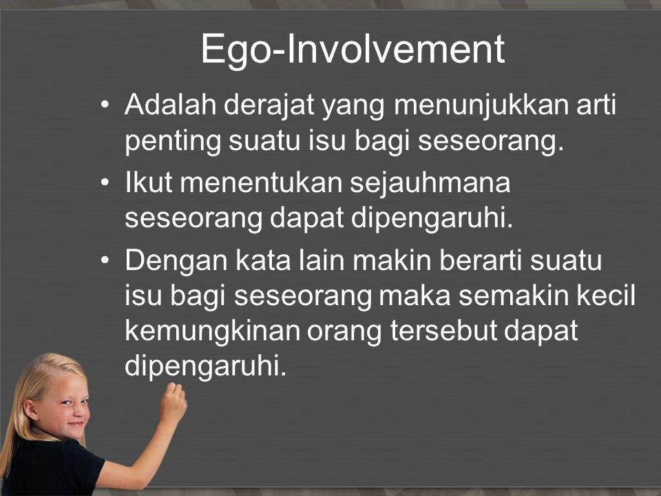 Ego-Involvement Adalah derajat yang menunjukkan arti penting suatu isu bagi seseorang. Ikut menentukan sejauhmana seseorang dapat dipengaruhi.