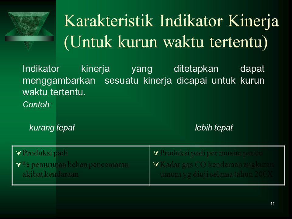 Karakteristik Indikator Kinerja (Untuk kurun waktu tertentu)