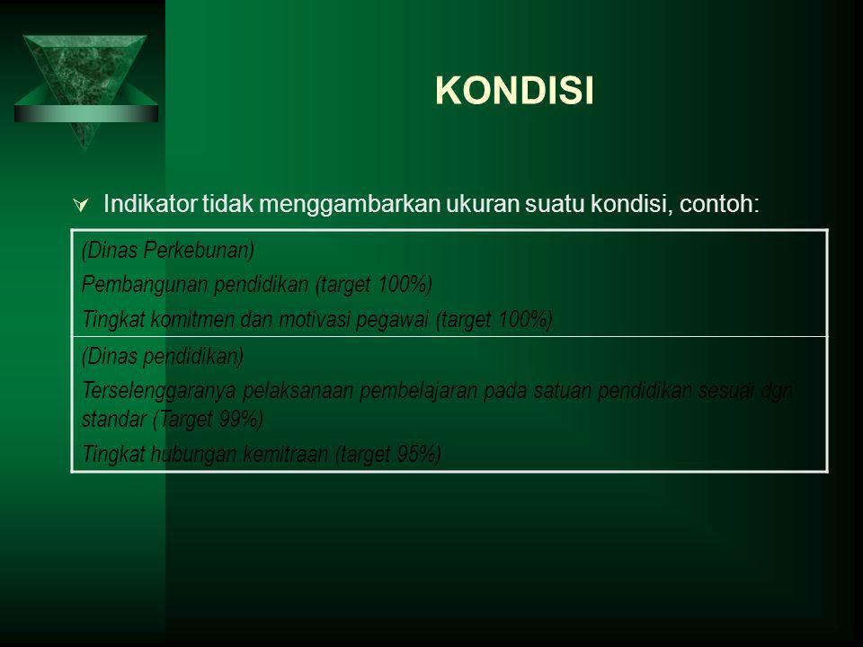 KONDISI (Dinas Perkebunan) Pembangunan pendidikan (target 100%)
