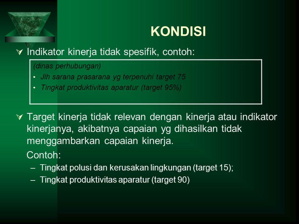 KONDISI Indikator kinerja tidak spesifik, contoh: