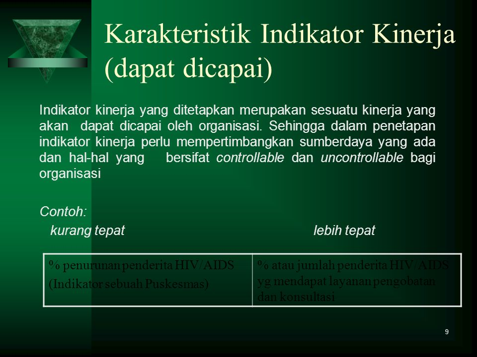 Karakteristik Indikator Kinerja (dapat dicapai)