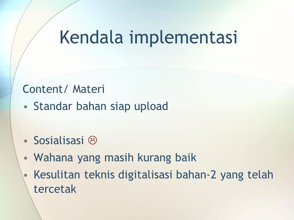 Kendala implementasi Content/ Materi Standar bahan siap upload