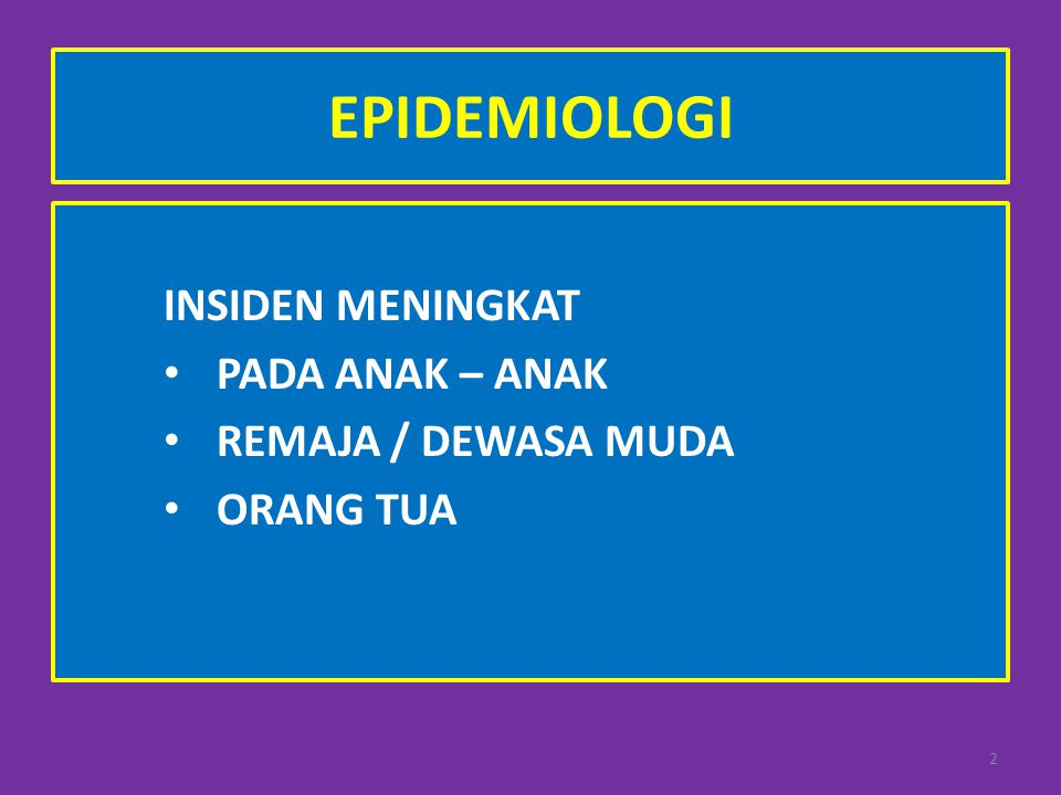 EPIDEMIOLOGI INSIDEN MENINGKAT PADA ANAK – ANAK REMAJA / DEWASA MUDA