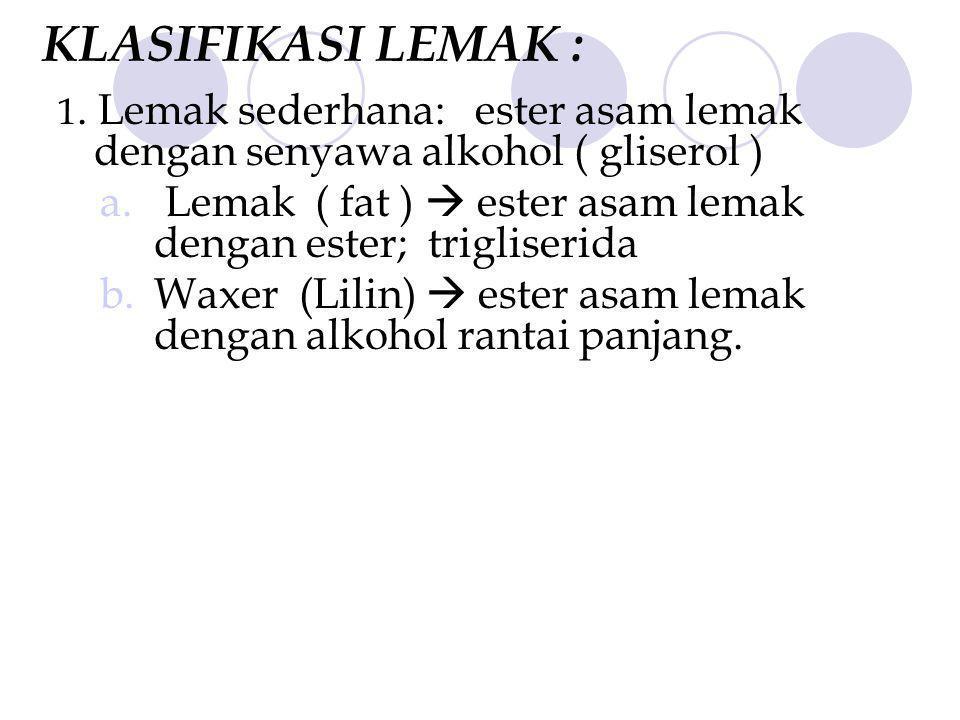 KLASIFIKASI LEMAK : 1. Lemak sederhana: ester asam lemak dengan senyawa alkohol ( gliserol )