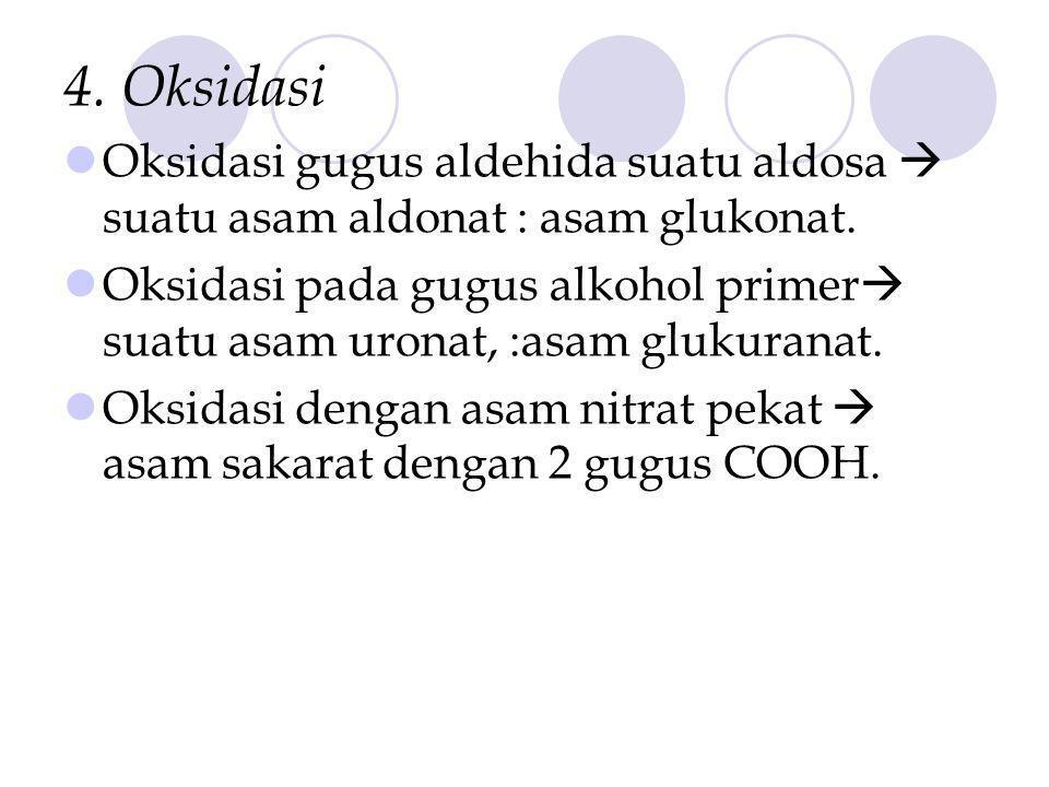 4. Oksidasi Oksidasi gugus aldehida suatu aldosa  suatu asam aldonat : asam glukonat.