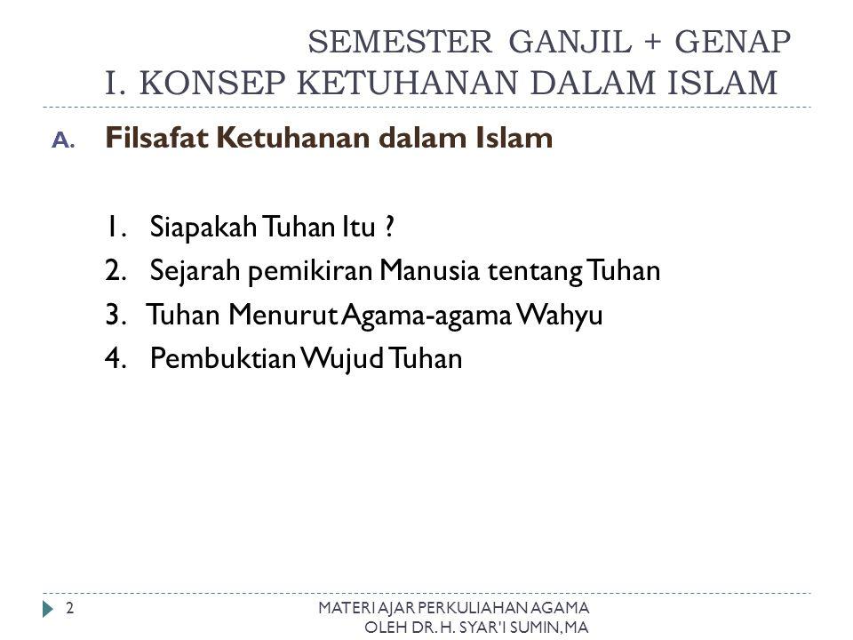 SEMESTER GANJIL + GENAP I. KONSEP KETUHANAN DALAM ISLAM
