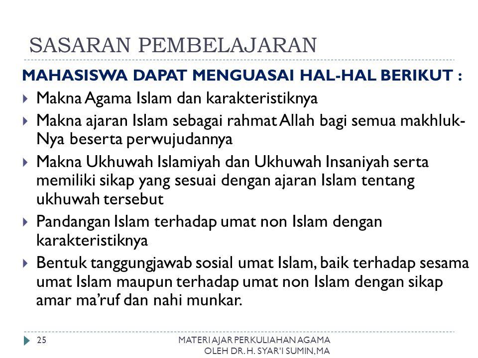 SASARAN PEMBELAJARAN Makna Agama Islam dan karakteristiknya
