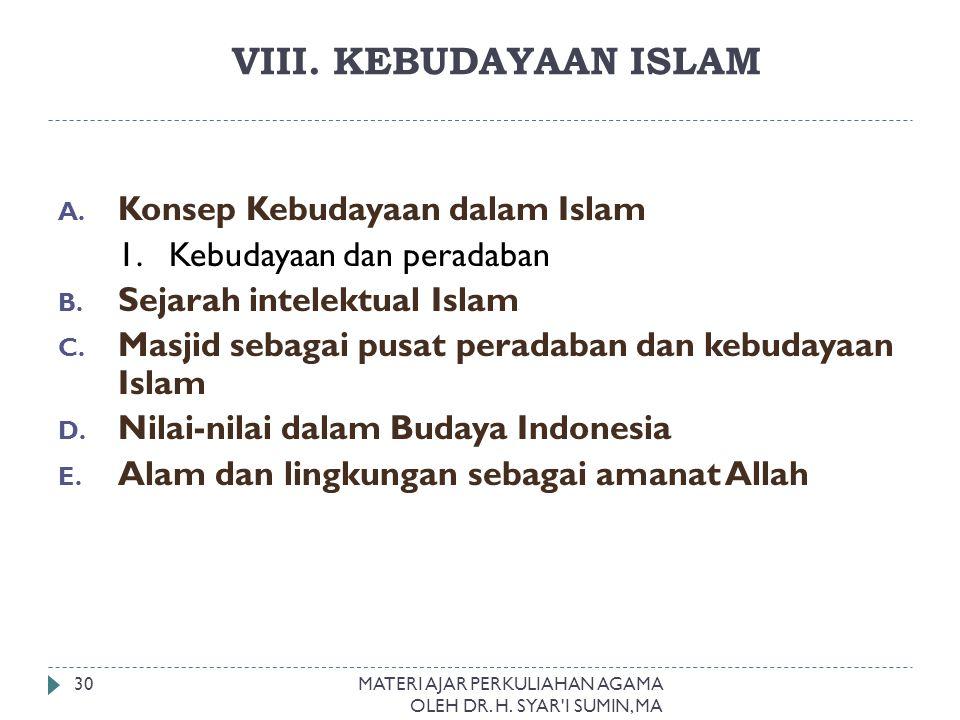 VIII. KEBUDAYAAN ISLAM Konsep Kebudayaan dalam Islam