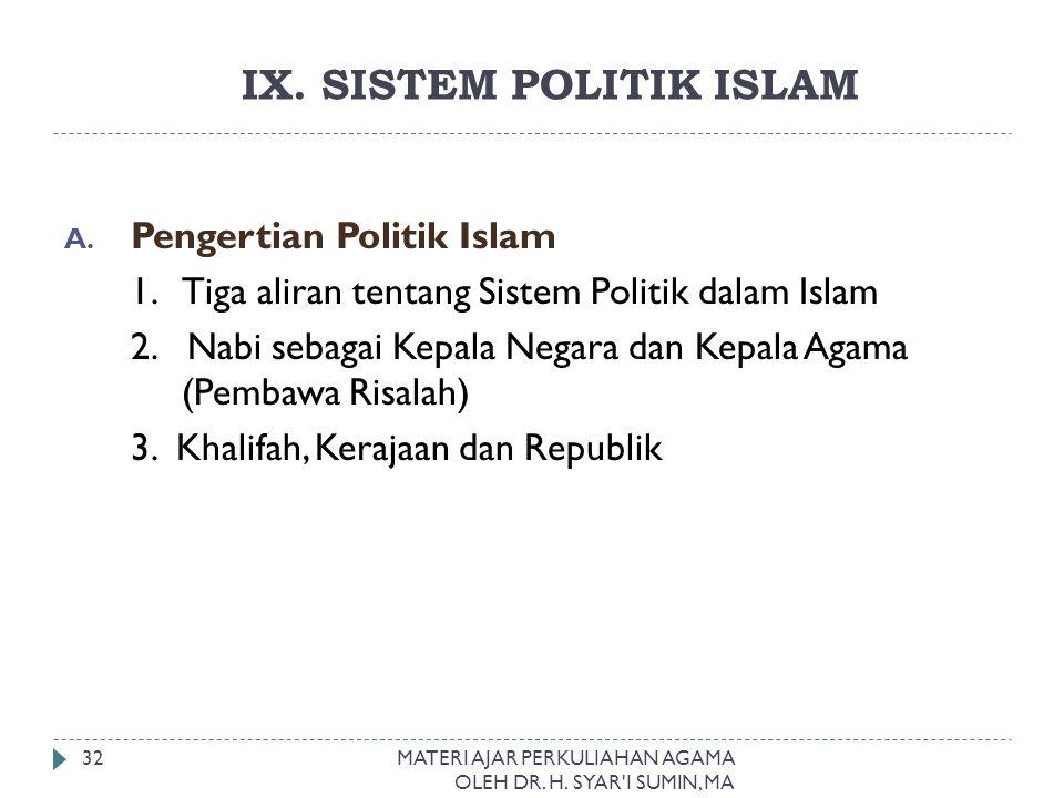 IX. SISTEM POLITIK ISLAM