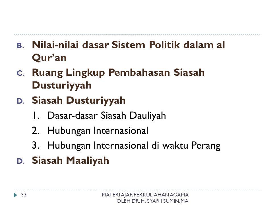 Nilai-nilai dasar Sistem Politik dalam al Qur'an