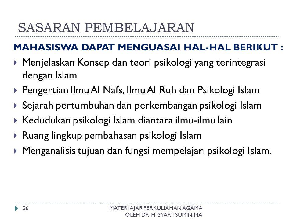 SASARAN PEMBELAJARAN MAHASISWA DAPAT MENGUASAI HAL-HAL BERIKUT : Menjelaskan Konsep dan teori psikologi yang terintegrasi dengan Islam.